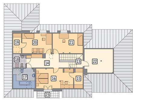 Rzut poddasza POW. 132,4 m²
