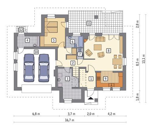 Rzut parteru POW. 119,7 m²