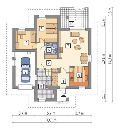 Rzut parteru POW. 110,5 m²