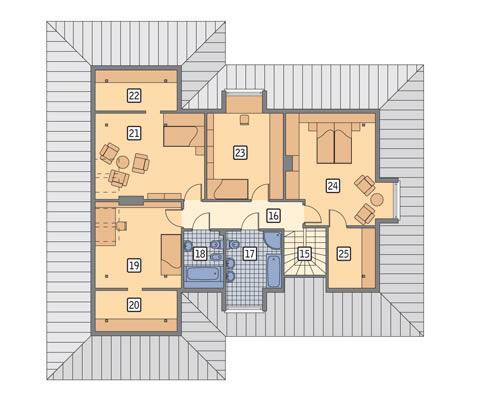 Rzut poddasza POW. 125,8 m²