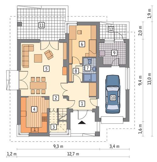Rzut parteru POW. 97,9 m²