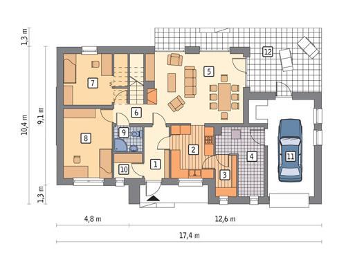 RZUT PARTERU LUSTRO POW. 113,6 m²