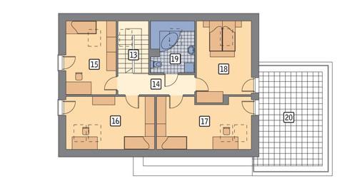 Rzut poddasza lustro POW. 114,5 m²
