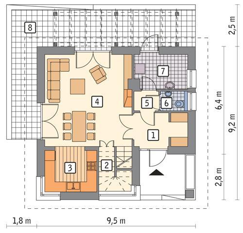 Rzut parteru POW. 54,9 m²