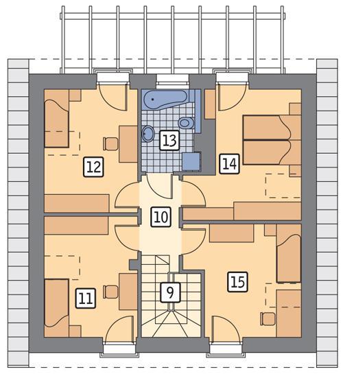 Rzut poddasza POW. 64,1 m²