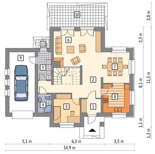 Rzut parteru POW. 103,0 m²