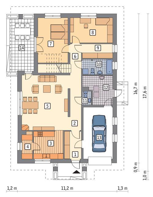 Rzut parteru POW. 131,9 m²