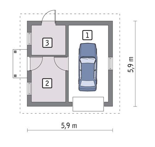 Rzut parteru POW. 28,8 m²