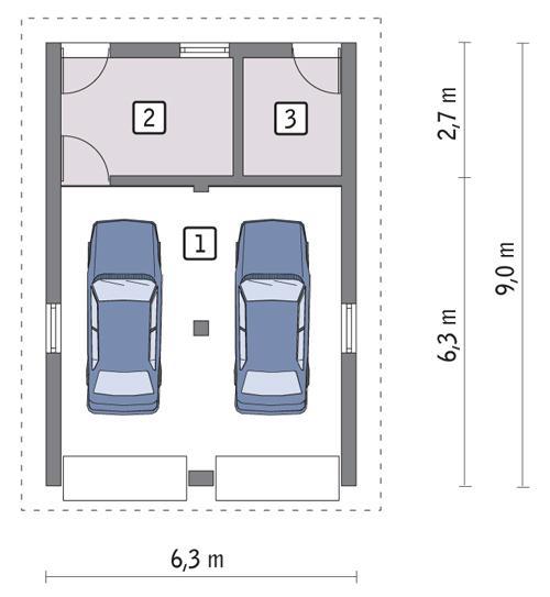 Rzut parteru POW. 47,9 m²