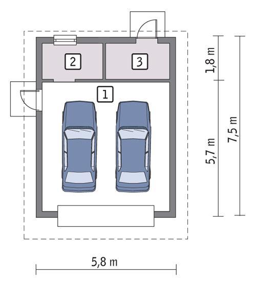Projekt Garażu G07 Garaż Z Pomieszczeniem Gospodarczym Murator