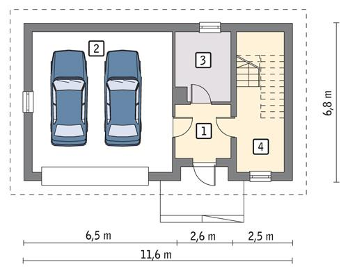 Rzut parteru POW. 60,4 m²