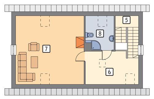 Rzut poddasza POW. 62,1 m²