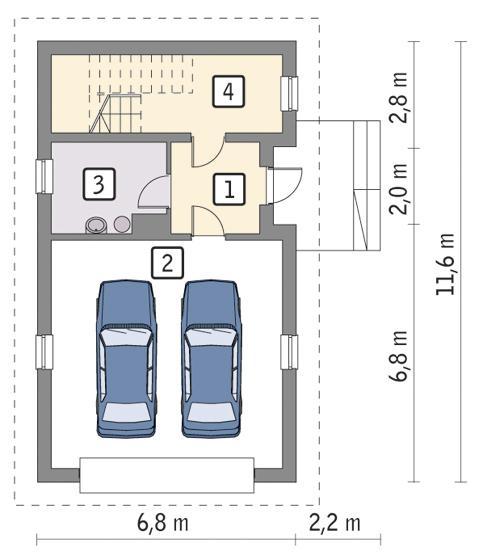 Rzut parteru POW. 60,2 m²