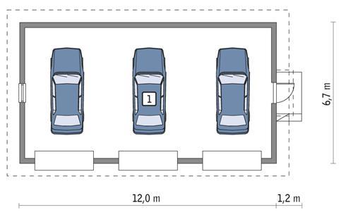 Rzut parteru POW. 73,1 m²