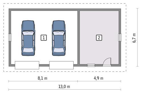 Rzut parteru POW. 76,4 m²
