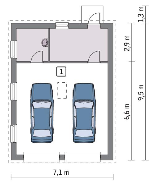 Rzut parteru POW. 54,0 m²