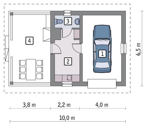 Rzut parteru POW. 29,9 m²