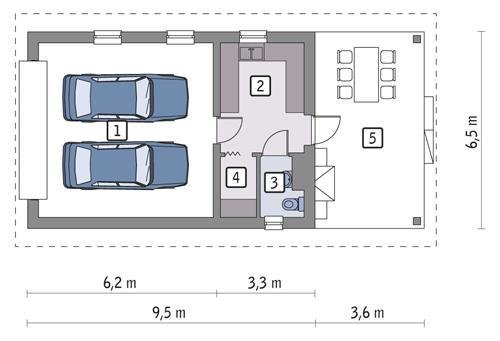 Rzut parteru POW. 46,8 m²