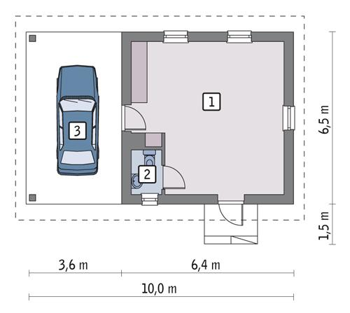 Rzut parteru POW. 32,0 m²