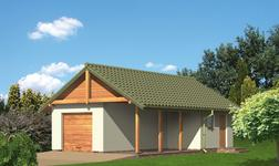 Garaż z pomieszczeniem gospodarczym i wiatą rekreacyjną