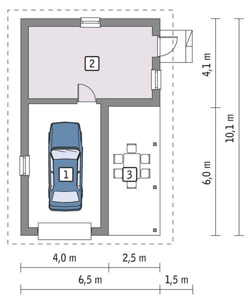 Projekt Garażu G17 Garaż Z Pomieszczeniem Gospodarczym I Wiatą