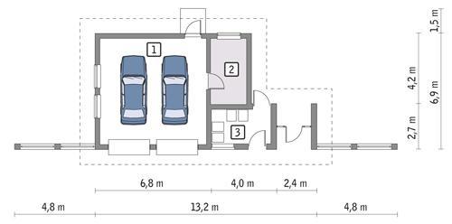 Rzut parteru POW. 55,8 m²