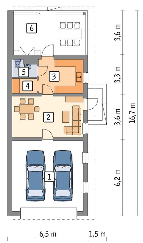 Rzut parteru POW. 65,9 m²