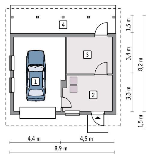 Rzut parteru POW. 47,4 m²