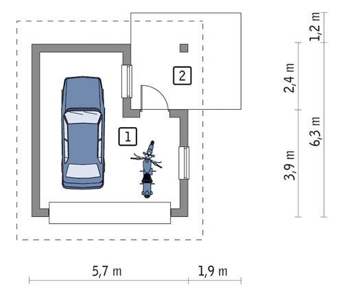 Rzut parteru POW. 24,4 m²