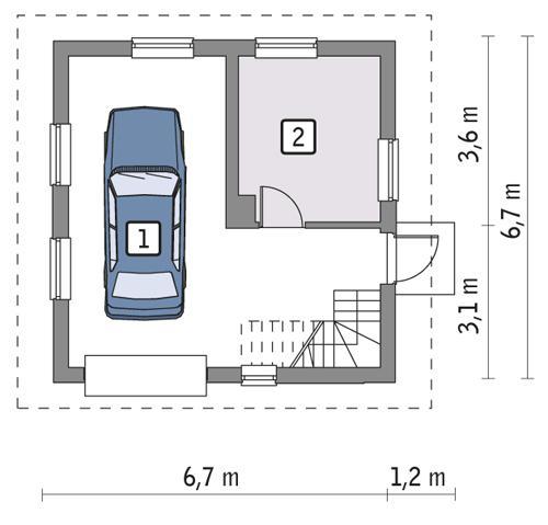 Rzut parteru POW. 34,9 m²