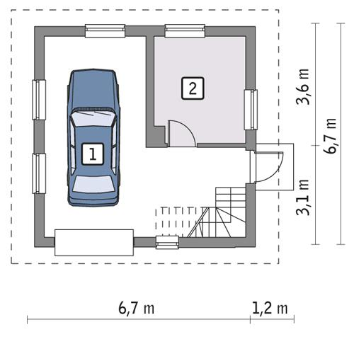Rzut parteru POW. 34,8 m²