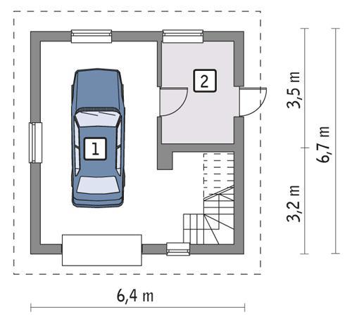 Rzut parteru POW. 33,3 m²