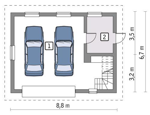 Rzut parteru POW. 47,2 m²