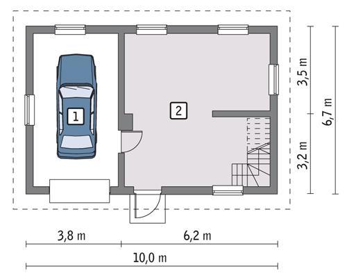 Rzut parteru POW. 53,8 m²