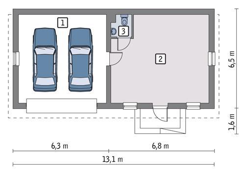 Rzut parteru POW. 68,3 m²