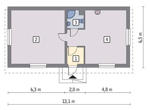 Rzut parteru POW. 67,6 m²