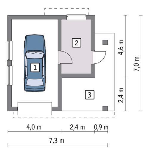 Rzut parteru POW. 29,5 m²
