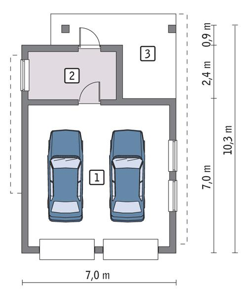Rzut parteru POW. 48,5 m²