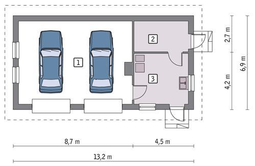 Rzut parteru POW. 72,3 m²