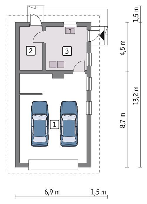 Rzut parteru POW. 71,3 m²