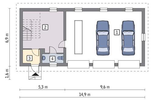 Rzut parteru lustro POW. 82,6 m²