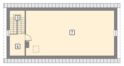 Rzut poddasza lustro POW. 85,3 m²