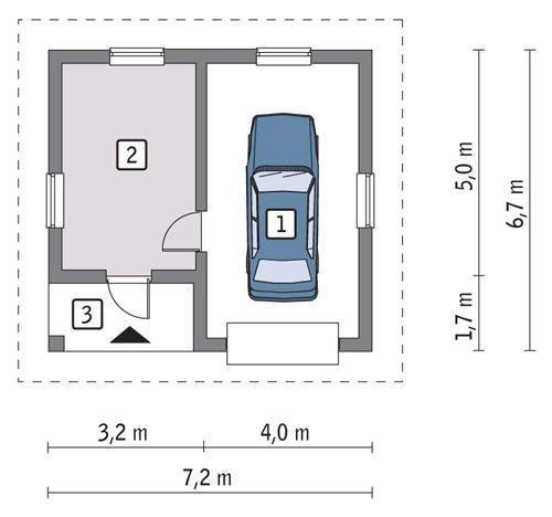 Rzut parteru POW. 33,4 m²