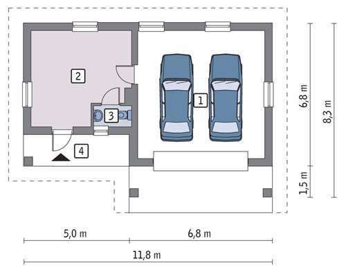 Rzut parteru POW. 56,7 m²