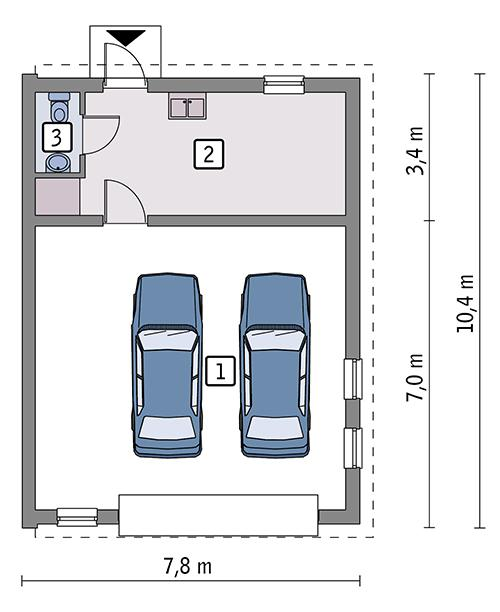 Rzut parteru POW. 61,7 m²