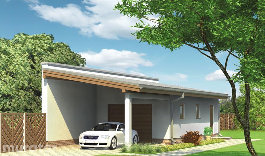 G42 Garaż z pomieszczeniem gospodarczym i wiatą garażową