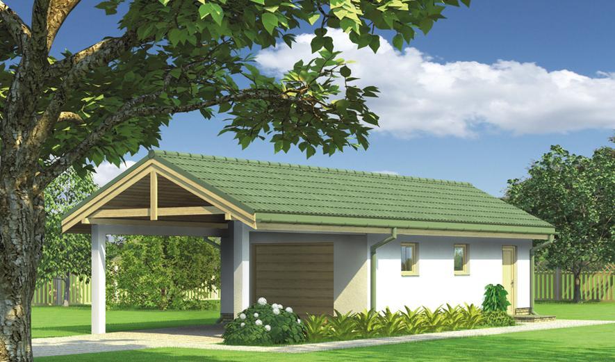 G42a Garaż z pomieszczeniem gospodarczym i wiatą garażową