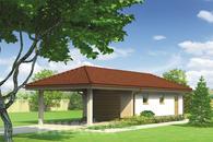 G42b Garaż z pomieszczeniem gospodarczym i wiatą garażową