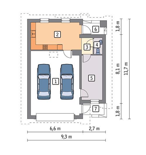 Rzut parteru POW. 77,7 m²