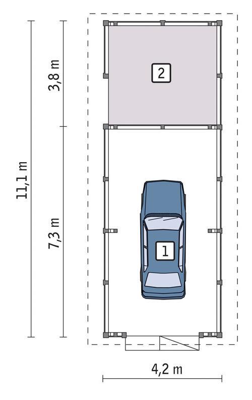 Rzut parteru lustro POW. 38,5 m²